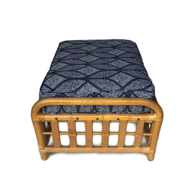 1970s Vintage Oversized Bamboo Ottomans Low Stools - a Pair For Sale - Image 10 of 13