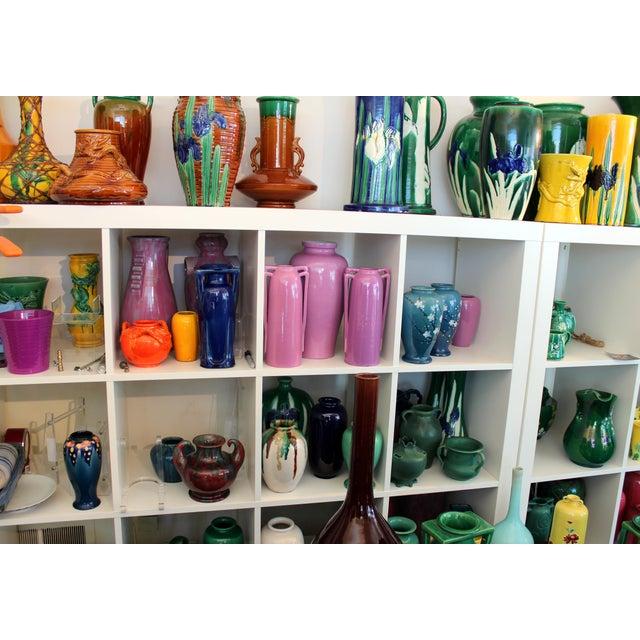 """Yellow Awaji Vintage Japanese Studio Pottery Yellow Flambe"""" Muscle"""" Vase For Sale - Image 8 of 10"""