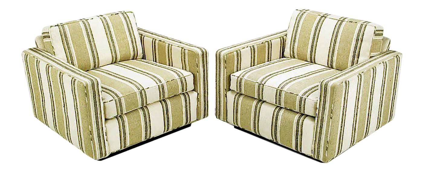 Pair Of 1960s Cube Chairs In Taupe Striped Cotton Upholstery For Sale