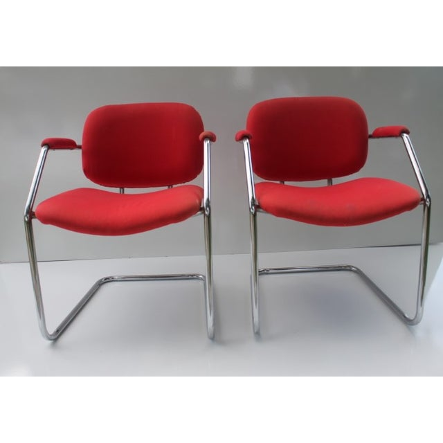 Mid-Century Chrome Accent Chairs - A Pair - Image 2 of 8