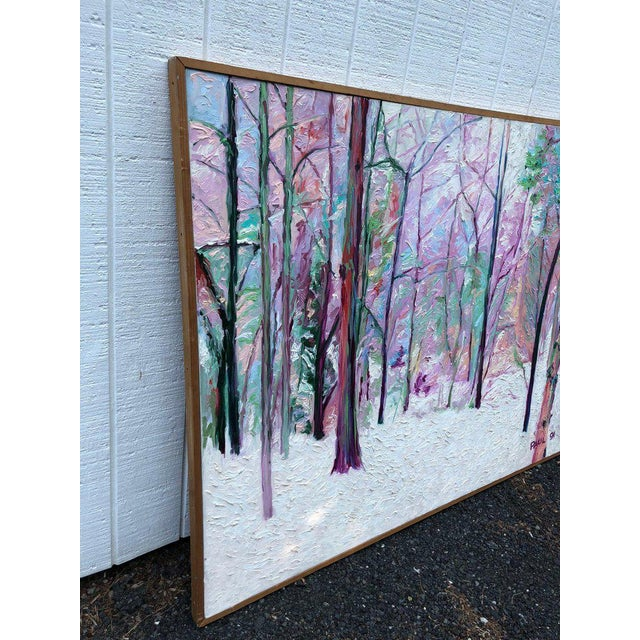 "1990s Huge Modern ""Winter Scene"" Impasto Painting For Sale - Image 5 of 11"