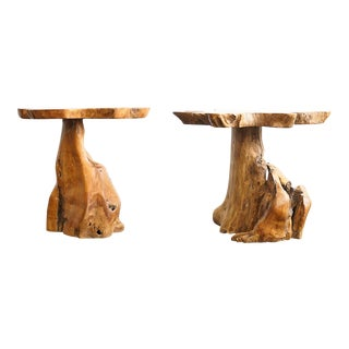 1970s Organic Modern Maple Burl Live Edge Driftwood End Tables - a Pair For Sale