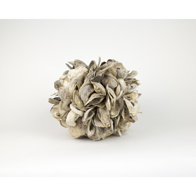 Large Natural Oyster Shell Sphere Sculpture For Sale - Image 4 of 10
