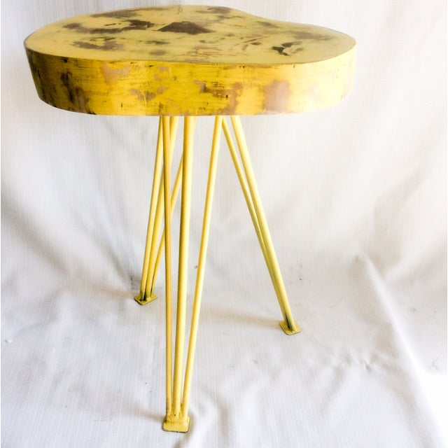 Yellow Wood End Table - Image 4 of 6