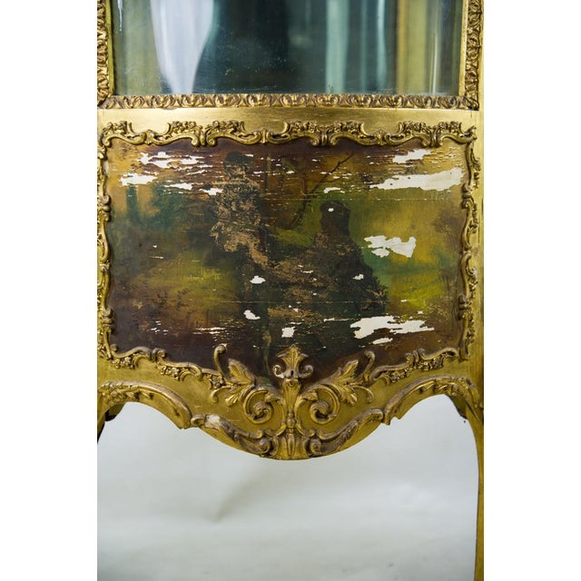 French Louis XV Giltwood and Curved Glass Curio Cabinet For Sale - Image 9 of 13