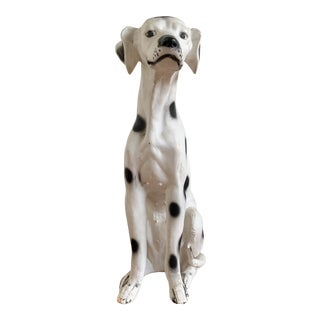 Vintage Chalkware Life Size Dalmatian Statue For Sale