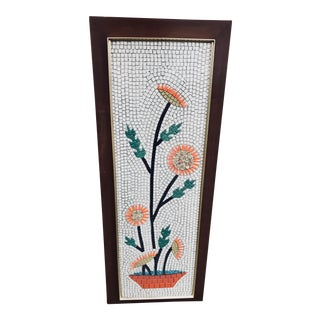1960's Mid-Century Modern Colorful Graphic Long Stem Flowers Tile Mural