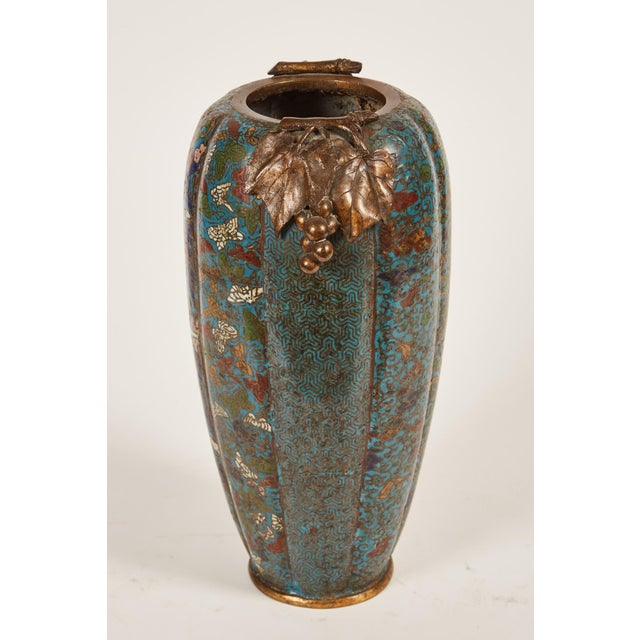 Lovely 19th Century Chinese Cloisonn Vase With Grape Handles Decaso