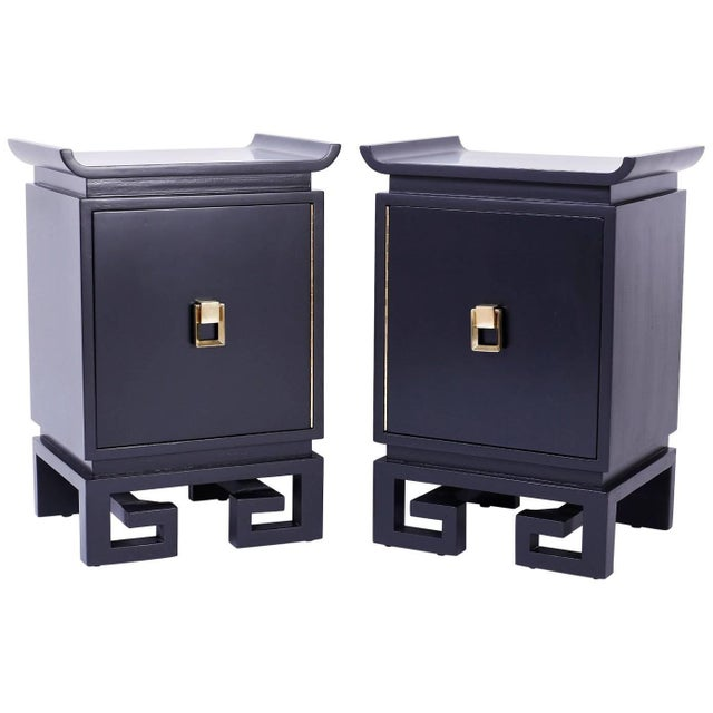 Mid-Century Black Lacquered Bedside Chests or Nightstands - A Pair For Sale - Image 10 of 10