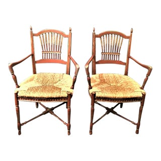 1960s Vintage Rustic Painted Arm Chairs- a Pair For Sale