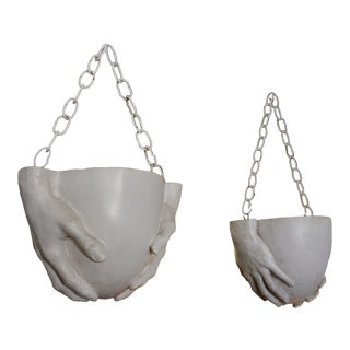 "1970s Vintage Richard Etts Hanging ""Hands"" Planters - a Pair For Sale"
