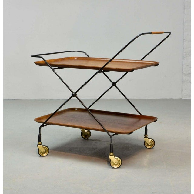 Mid-Century Design Teak and Steel Tea Trolley on Brass wheels by Paul Nagel, Germany 1950s For Sale - Image 13 of 13