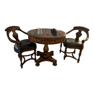 Walnut Chess Table & Walnut and Black Leather Arm Chairs - Set of 3 For Sale
