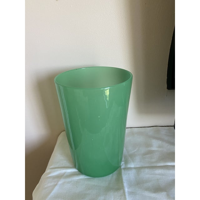 Mid-Century Modern Green Opaque Hand-Blown Modern Glass Vase For Sale - Image 3 of 4