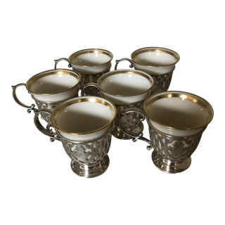 Mid 20th Century Lenox Porcelain and Sterling Silver Demitasse - Set of 6 For Sale