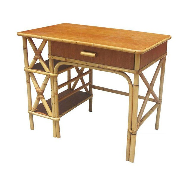 Rattan & Mahogany Secretary Desk with Side Shelf - Image 7 of 8