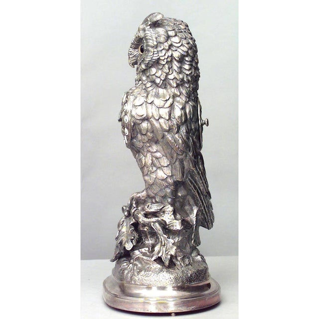 English Victorian Silver-Plated Owl Design Clock and Pair of Candelabra For Sale In New York - Image 6 of 10