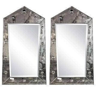 Venetian Style Pyramid Mirrors - A Pair