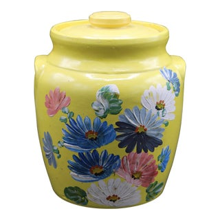 Vintage Yellow Hand Painted Floral Pottery Jar For Sale