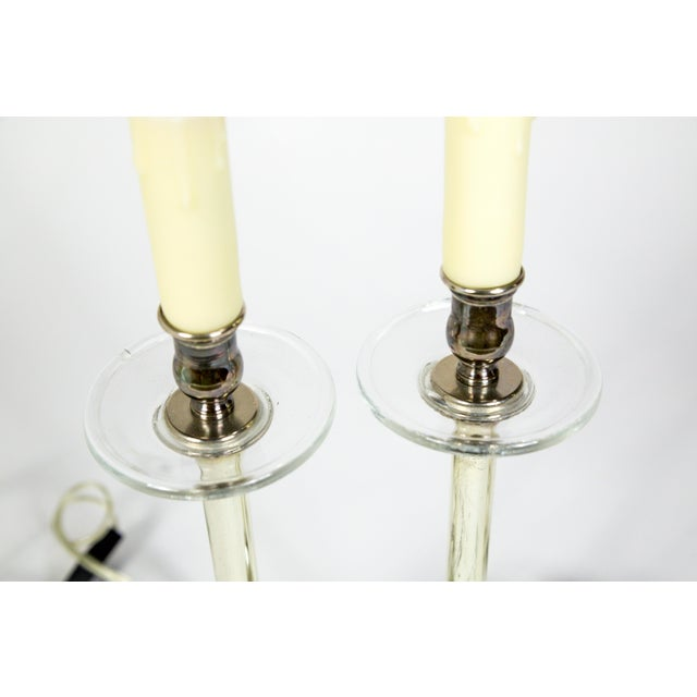 1920s Crystal and Silver Candlestick Lamps (Pair) For Sale - Image 5 of 10