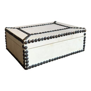 Decorative Studded Parchment Keepsake Box For Sale