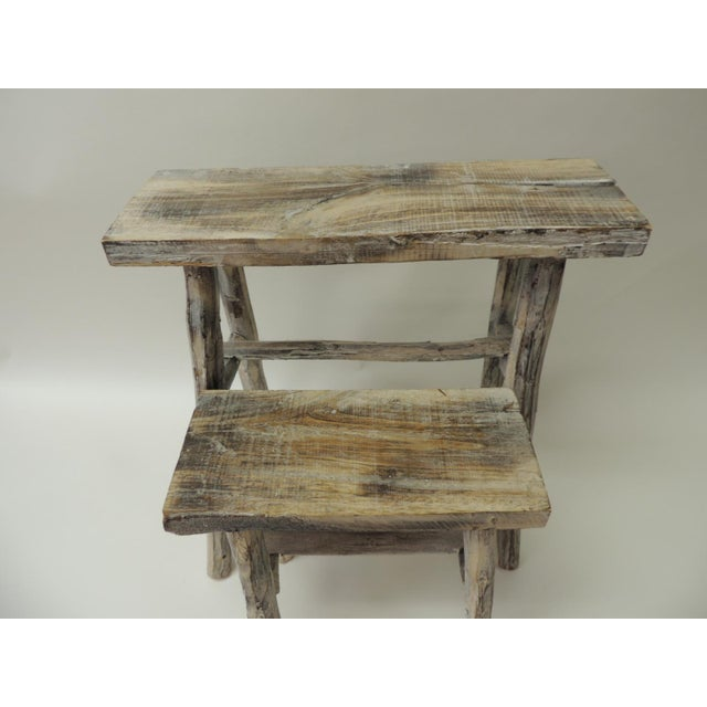 Vintage Asian White Washed Rubbed Wood Painted Artisanal Side Tables - A Pair For Sale - Image 4 of 8