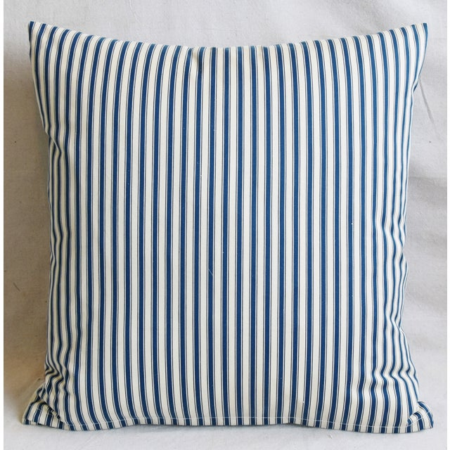 """French Blue & White Feather/Down Ticking Striped Pillows 23"""" Square - Pair For Sale - Image 11 of 13"""