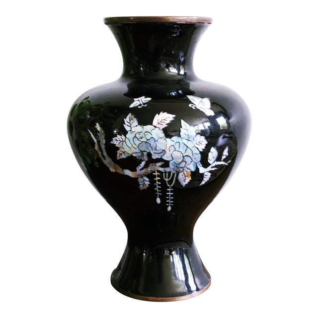 Vintage Japanese Brass and Black Enamel Vase With Mother of Pearl Inlay For Sale