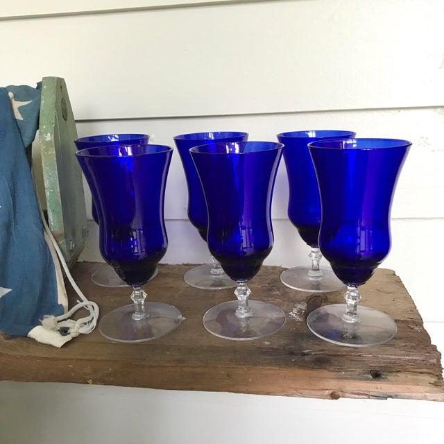 Vintage Cobalt Blue Wine Glasses - Set of 6 - Image 3 of 6