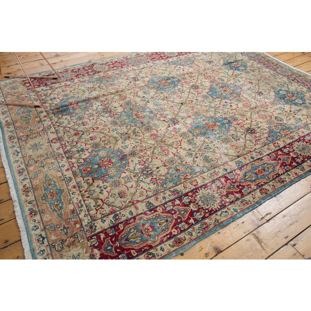 "Shabby Chic Vintage Distressed Kerman Carpet - 6'10"" X 9'4"" For Sale - Image 3 of 14"