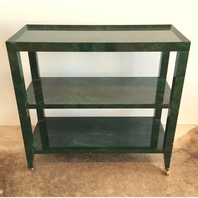 1960s Mid-Century Modern Faux Malachite Bar Cart on Wheels For Sale - Image 10 of 10