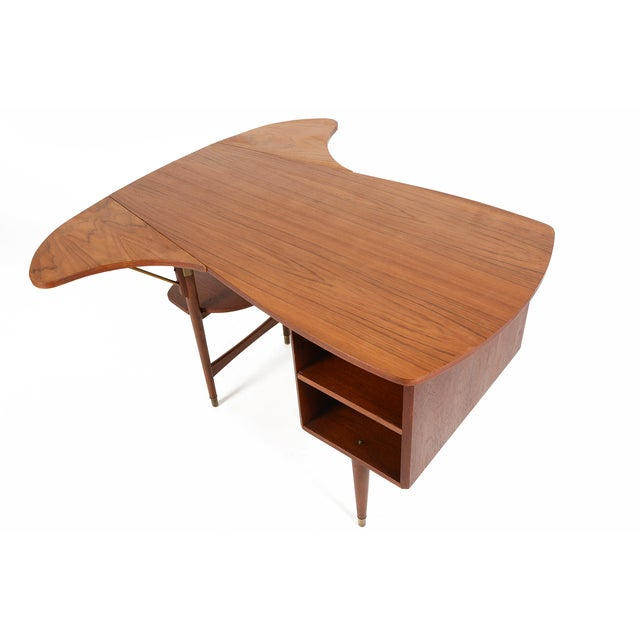 Danish Modern Biomorphic Double Drop Leaf Desk - Image 10 of 11