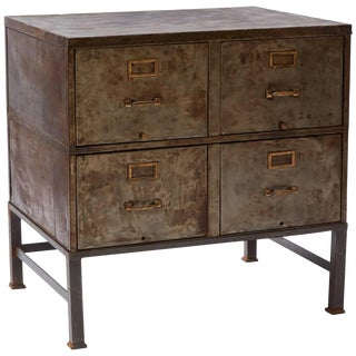 1930s Metal Filing Cabinet With Four Drawers For Sale