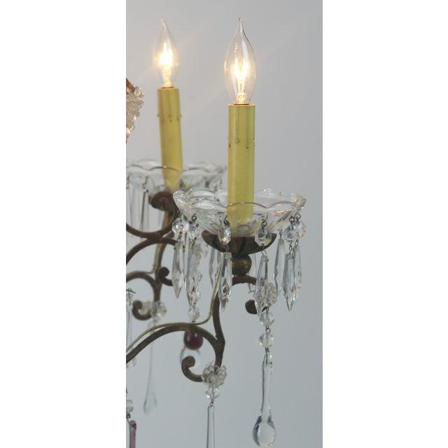 Antique Italian Gold Leaf Crystal Chandelier - Image 5 of 10