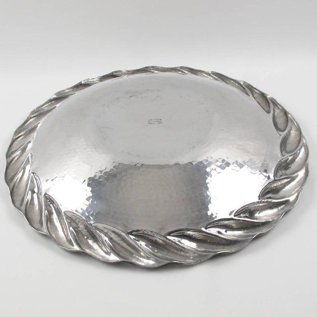 Silver Irman France 1930s Art Deco Large Aluminum Platter or Serving Tray For Sale - Image 8 of 9