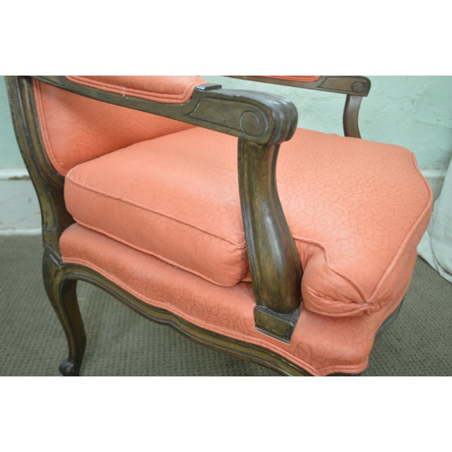 French Louis XV Style Custom Quality Pair of Fauteuils Arm Chairs For Sale - Image 12 of 13