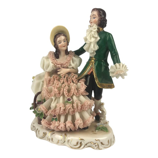 Vintage Dresden Style Porcelain Couple Figurine For Sale