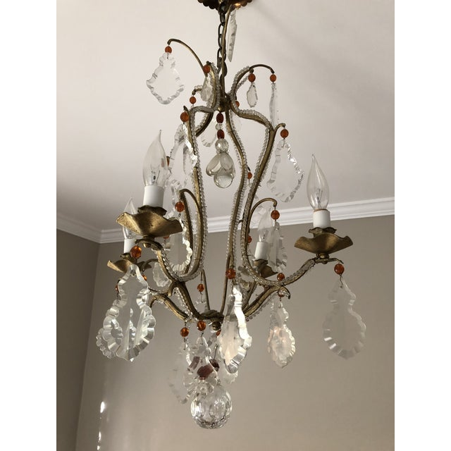 French 4 Arm Wrought-Iron Chandelier - Image 2 of 3