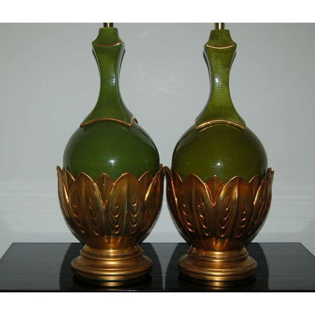 Italian Marbro Italian Ceramic Table Lamps Artichoke Green For Sale - Image 3 of 10