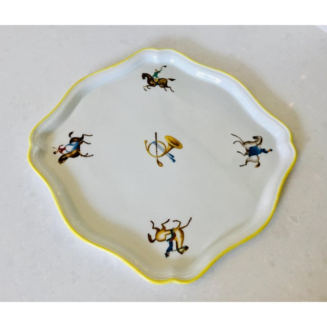 Lovely Gio Ponti hand painted tray with an equestrian motif from Richard Ginori, circa 1950s.