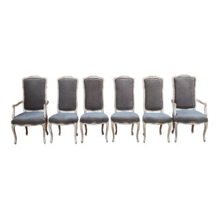 20th Century French Taupe Velvet Dining Chairs - Set of 6 For Sale