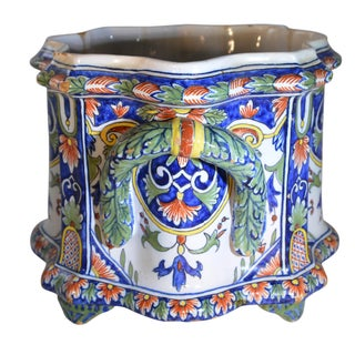 French Hand Painted Nevers Faience Cachepot Jardinière, Circa 18th Century Preview