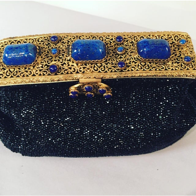 French Caviar Beaded Black Evening Bag With Lapis Lazuli and Gold Toned Wirework Frame For Sale - Image 4 of 10