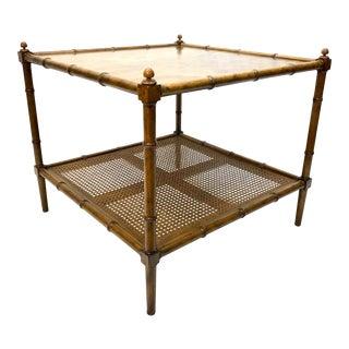 1980s Vintage Baker Furniture Burl Wood, Bamboo & Cane Side Table For Sale