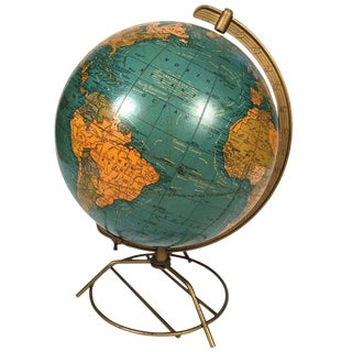 1950s Vintage Cram's Illuminated Light Up Glass Terrestrial Globe For Sale