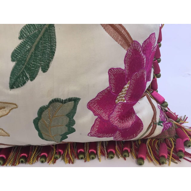 Vintage Colorful Silk Pillow With Spring Fresh Flowers Designs and Trim For Sale - Image 11 of 13