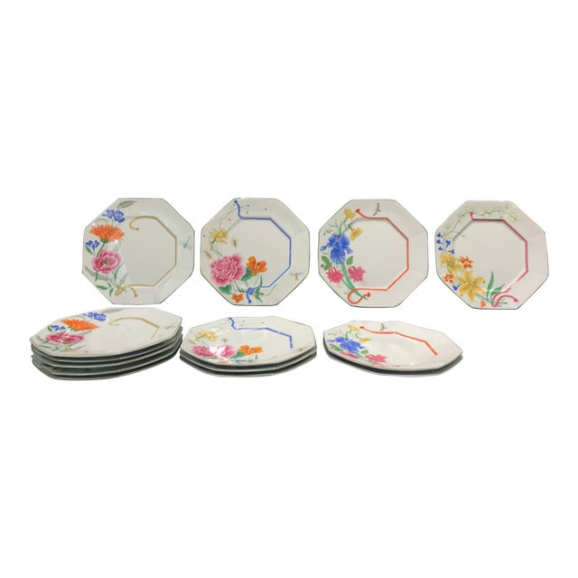 """1990s Lynn Chase """"Flores"""" Assorted Colors Dinner Plates - Set of 14 For Sale"""