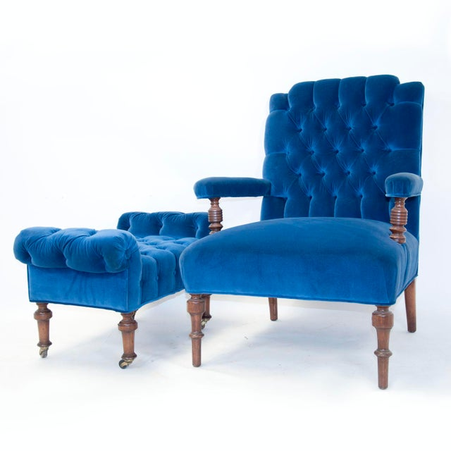 Edwardian English Arm Chair and Foot Stool For Sale In Palm Springs - Image 6 of 12