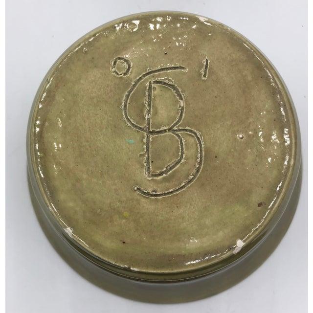 Modern Speckled Signed Studio Pottery Bowl For Sale - Image 9 of 10