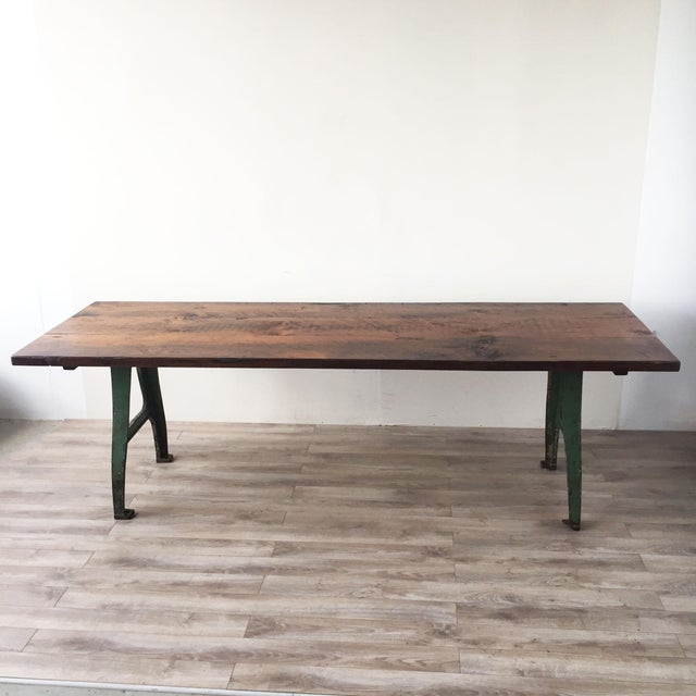 Cast Iron Base Reclaimed Wood Dining Table - Image 2 of 7